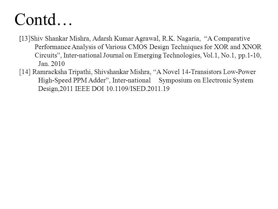 Contd… [13]Shiv Shankar Mishra, Adarsh Kumar Agrawal, R.K. Nagaria, A Comparative.